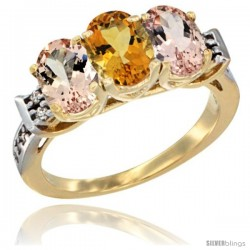10K Yellow Gold Natural Citrine & Morganite Sides Ring 3-Stone Oval 7x5 mm Diamond Accent
