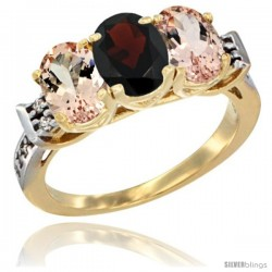 10K Yellow Gold Natural Garnet & Morganite Sides Ring 3-Stone Oval 7x5 mm Diamond Accent