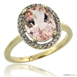 10k Yellow Gold Diamond Halo Morganite Ring 2.5 carat Oval shape 10X8 mm, 1/2 in (12.5mm) wide