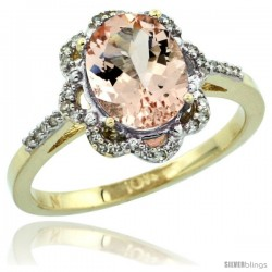 10k Yellow Gold Diamond Halo Morganite Ring 1.7 Carat Oval Shape 9X7 mm, 7/16 in (11mm) wide