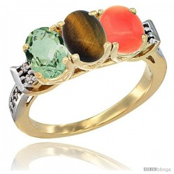 10K Yellow Gold Natural Green Amethyst, Tiger Eye & Coral Ring 3-Stone Oval 7x5 mm Diamond Accent