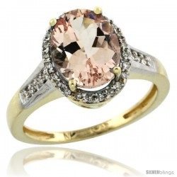 10k Yellow Gold Diamond Morganite Ring 2.5 ct Oval Stone 10x8 mm, 1/2 in wide