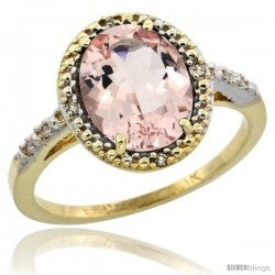 10k Yellow Gold Diamond Morganite Ring 2.4 ct Oval Stone 10x8 mm, 1/2 in wide