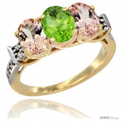 10K Yellow Gold Natural Peridot & Morganite Sides Ring 3-Stone Oval 7x5 mm Diamond Accent