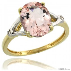 10k Yellow Gold Diamond Morganite Ring 2.4 ct Oval Stone 10x8 mm, 3/8 in wide