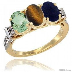 10K Yellow Gold Natural Green Amethyst, Tiger Eye & Lapis Ring 3-Stone Oval 7x5 mm Diamond Accent