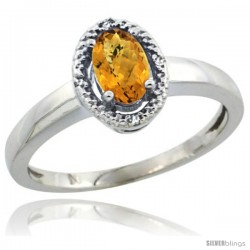 14k White Gold Diamond Halo whisky Quartz Ring 0.75 Carat Oval Shape 6X4 mm, 3/8 in (9mm) wide