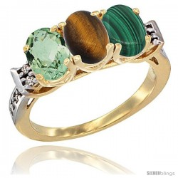 10K Yellow Gold Natural Green Amethyst, Tiger Eye & Malachite Ring 3-Stone Oval 7x5 mm Diamond Accent