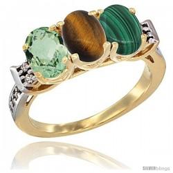10K Yellow Gold Natural Green Amethyst, Tiger Eye & Malachite Ring 3-Stone Oval 7x5 mm Diamond Accent