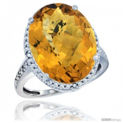 14k White Gold Diamond Whisky Quartz Ring 13.56 ct Large Oval 18x13 mm Stone, 3/4 in wide
