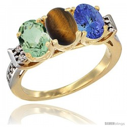 10K Yellow Gold Natural Green Amethyst, Tiger Eye & Tanzanite Ring 3-Stone Oval 7x5 mm Diamond Accent