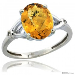 14k White Gold Diamond Whisky Quartz Ring 2.4 ct Oval Stone 10x8 mm, 3/8 in wide