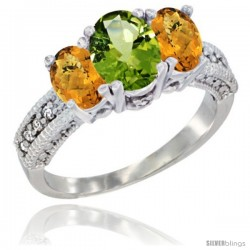 14k White Gold Ladies Oval Natural Peridot 3-Stone Ring with Whisky Quartz Sides Diamond Accent