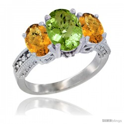 14K White Gold Ladies 3-Stone Oval Natural Peridot Ring with Whisky Quartz Sides Diamond Accent