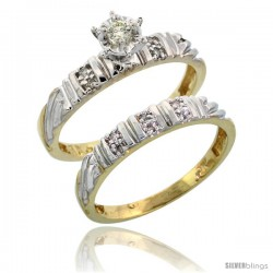 10k Yellow Gold Ladies' 2-Piece Diamond Engagement Wedding Ring Set, 1/8 in wide -Style Ljy117e2