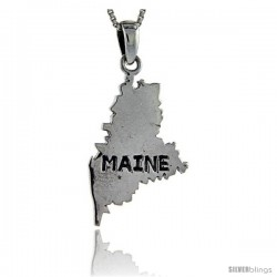 Sterling Silver Maine State Map Pendant, 1 1/2 in tall