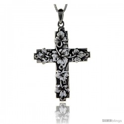 Sterling Silver Rose of Sharon Cross, 1 5/8 in long