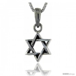 Sterling Silver Star of David Pendant, 1 1/16 in tall