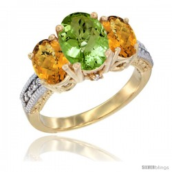14K Yellow Gold Ladies 3-Stone Oval Natural Peridot Ring with Whisky Quartz Sides Diamond Accent