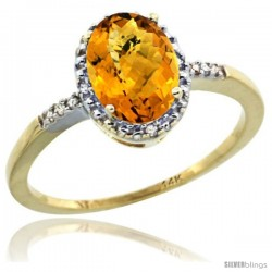 14k Yellow Gold Diamond Whisky Quartz Ring 1.17 ct Oval Stone 8x6 mm, 3/8 in wide