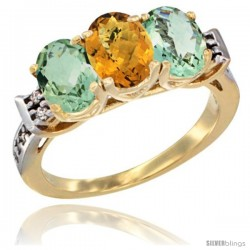 10K Yellow Gold Natural Whisky Quartz & Green Amethyst Sides Ring 3-Stone Oval 7x5 mm Diamond Accent