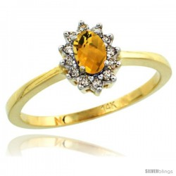 14k Yellow Gold Diamond Halo Whiskey Quartz Ring 0.25 ct Oval Stone 5x3 mm, 5/16 in wide