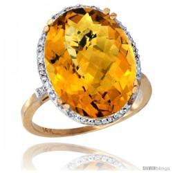 14k Yellow Gold Diamond Halo Large Whisky Quartz Ring 10.3 ct Oval Stone 18x13 mm, 3/4 in wide