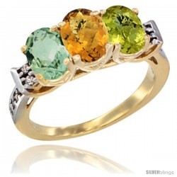 10K Yellow Gold Natural Green Amethyst, Whisky Quartz & Lemon Quartz Ring 3-Stone Oval 7x5 mm Diamond Accent