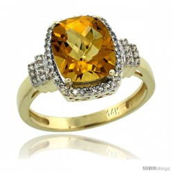 14k Yellow Gold Diamond Halo Whisky Quartz Ring 2.4 ct Cushion Cut 9x7 mm, 1/2 in wide