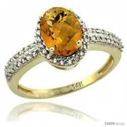 14k Yellow Gold Diamond Halo Whisky Quartz Ring 1.2 ct Oval Stone 8x6 mm, 3/8 in wide