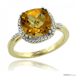 14k Yellow Gold Diamond WhiskyRing 3.05 ct Cushion Cut 9x9 mm, 1/2 in wide