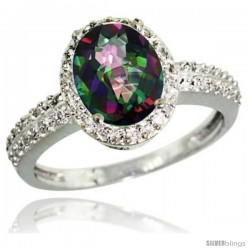 Sterling Silver Diamond Mystic Topaz Ring Oval Stone 9x7 mm 1.76 ct 1/2 in wide