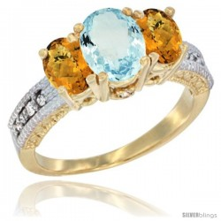 14k Yellow Gold Ladies Oval Natural Aquamarine 3-Stone Ring with Whisky Quartz Sides Diamond Accent
