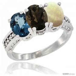 10K White Gold Natural London Blue Topaz, Smoky Topaz & Opal Ring 3-Stone Oval 7x5 mm Diamond Accent