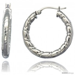 Surgical Steel 1 1/4 in Hoop Earrings Candy Stripe Embossed Pattern 4 mm tube, feather weigh