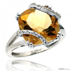 10k White Gold Diamond Citrine Ring 7.5 ct Cushion Cut 12 mm Stone, 1/2 in wide
