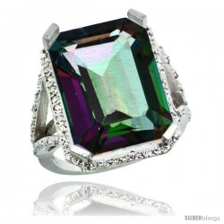 Sterling Silver Diamond Mystic Topaz Ring 14.96 ct Emerald Shape 18x13 Stone 13/16 in wide