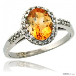 10k White Gold Diamond Citrine Ring Oval Stone 8x6 mm 1.17 ct 3/8 in wide