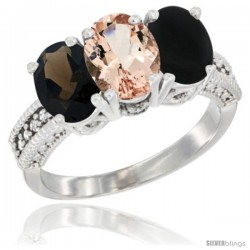 14K White Gold Natural Smoky Topaz, Morganite & Black Onyx Ring 3-Stone 7x5 mm Oval Diamond Accent