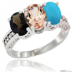 14K White Gold Natural Smoky Topaz, Morganite & Turquoise Ring 3-Stone 7x5 mm Oval Diamond Accent