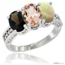 14K White Gold Natural Smoky Topaz, Morganite & Opal Ring 3-Stone 7x5 mm Oval Diamond Accent