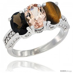 14K White Gold Natural Smoky Topaz, Morganite & Tiger Eye Ring 3-Stone 7x5 mm Oval Diamond Accent
