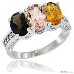 14K White Gold Natural Smoky Topaz, Morganite & Whisky Quartz Ring 3-Stone 7x5 mm Oval Diamond Accent