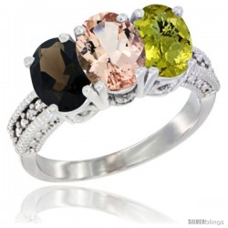 14K White Gold Natural Smoky Topaz, Morganite & Lemon Quartz Ring 3-Stone 7x5 mm Oval Diamond Accent
