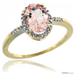 10k Yellow Gold Diamond Morganite Ring 1.17 ct Oval Stone 8x6 mm, 3/8 in wide