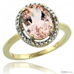 10k Yellow Gold Diamond Morganite Ring 2.4 ct Oval Stone 10x8 mm, 1/2 in wide -Style Cy913114