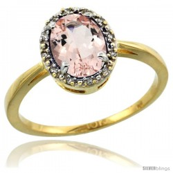 10k Yellow Gold Diamond Halo Morganite Ring 1.2 ct Oval Stone 8x6 mm, 1/2 in wide