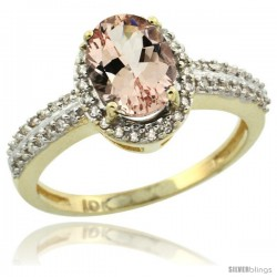 10k Yellow Gold Diamond Halo Morganite Ring 1.2 ct Oval Stone 8x6 mm, 3/8 in wide