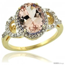 10k Yellow Gold Diamond Halo Morganite Ring 2.4 ct Oval Stone 10x8 mm, 1/2 in wide