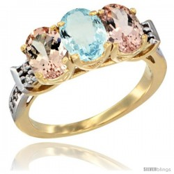 10K Yellow Gold Natural Aquamarine & Morganite Sides Ring 3-Stone Oval 7x5 mm Diamond Accent